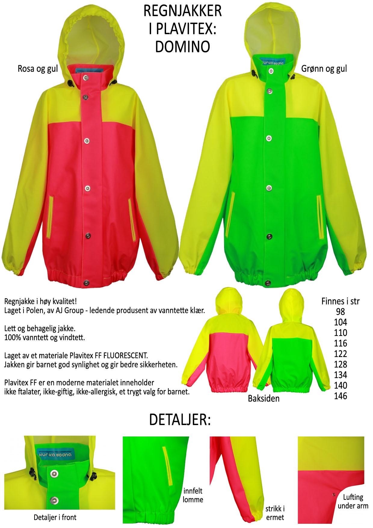 0a77ce99 Domino Fluo - regnjakker til barn, jakker i fuoriserende materiele - god  synlighet